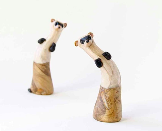 Ferret Sculpture - Black-Footed Ferret by Bonjour Poupette
