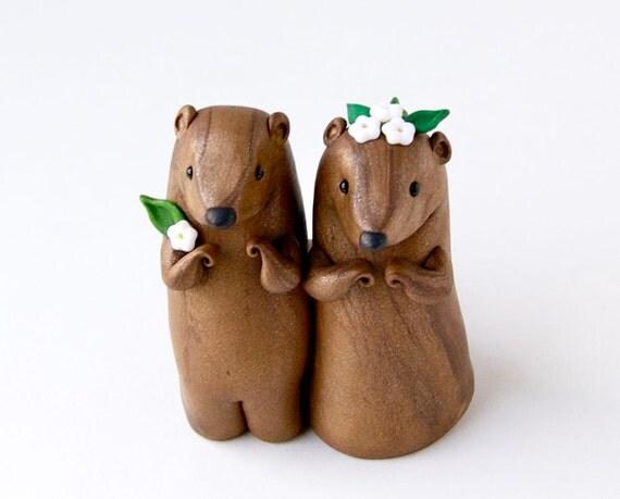 Groundhog Day Wedding Cake Topper Valentine Decor by Bonjour Poupette