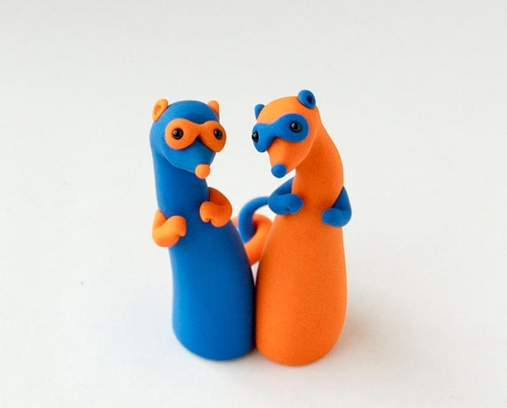 Color Block Ferret Twins in Tangerine and Blue by Bonjour Poupette