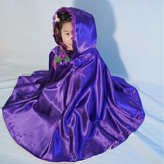 Girls Princess Cape, Purple Blossoms