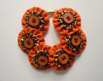 Orange Loves Leopard  Button Bracelet