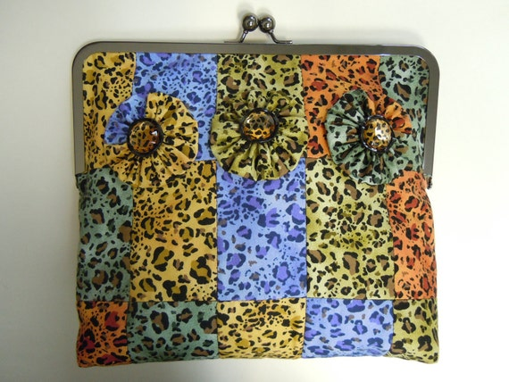 Leopard Print Patchwork Quilted Purse