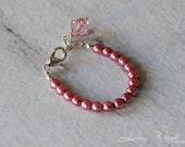 Pink Princess Pearls Little Girl/Baby Bracelet