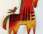 Set of 2 Very RARE Laurel Burch Mythical Horse Appliques*Handmade*LAST SETS/P