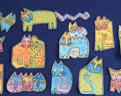 SALE*12 Adorable CAT appliques*Handmade*Long out-of-print Laurel Burch fabric/A