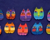 SALE*Set of 10 Cat Face Flannel Appliques*Handcut from RETIRED Laurel Burch Fabric/T