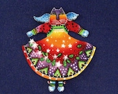 SALE*Angel Cat Appliques (sm) hand cut from Laurel Burch Holiday fabric FEW LEFT/126