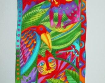 Flannel block applique*Handmade*RARE Laurel Burch Jungle Soul fabric*LAST One/172