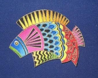 LAST SETS*Set of 3 Koi Fish Appliques*Handmade*Very Rare Laurel Burch Fabric/50