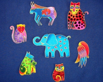 Adorable Set of 7 Jungle Animal Appliques*Handmade*Retired Laurel Burch Fabric*FEW left/RR