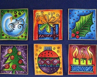SALE*Set of 6 Holiday Appliques*Handmade*Gorgeous Laurel Burch Fabric/129