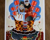 Lookfar, color 8.5x11 print of an original painting by Tessa Hulls