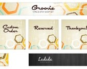 Shop Banner : Etsy Banner Retro Premade Set - 5 Pieces - Banner, Avatar, Custom Order, Reserved & Thank You Matching