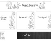 Shop Banners : Etsy Shop Set Bird Premade Set - Banner, Custom Order, Reserved - Black & White, flowers, illustration, white, jewelry