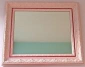 Baby Pink Decorative Mirror w/ Hot Pink Glitter