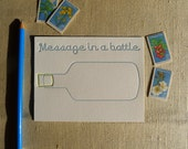 Message in a Bottle - Set of 6 Letterpress Flat Cards