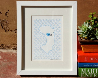 Chios Map - Limited Edition Letterpress Print