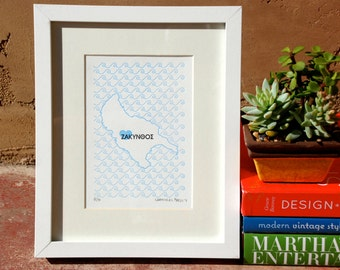 Zakinthos Map - Limited Edition Letterpress Print