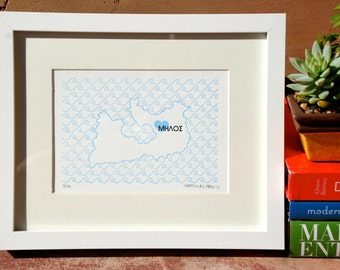 Milos Map - Limited Edition Letterpress Print
