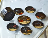 6 Lacquered Dishes with Japan Scenery in a Round Laquered Box