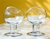 Pair of Thick Glass Cognac Snifters, So Mid Century Modern