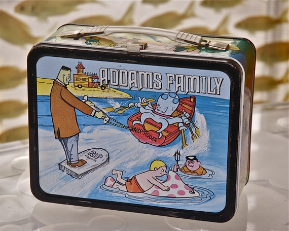 The Addams Family Lunch Box from the 1970s Cartoon TV Show with Thermos