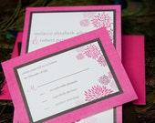 "Floral Print Zinnia Invitation Suite - ""The Lorraine"""