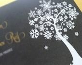 """Winter Wonderland Snowflake Tree Wedding Invitation Suite - """"The Jennifer"""""""