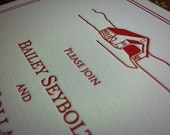 "Rustic Hand Drawn Barn Letterpress Wedding Invitation - ""The Bailey"""