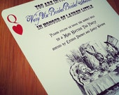 Alice in Wonderland Mad Hatter Tea Party Bridal Shower or Bachelorette Invitation