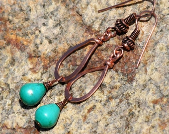 Turquoise Earrings, Copper Earrings, Hammered Wire Earrings, Bohemian Earrings, Gypsy Earrings, Hippie Earrings, Stone Earrings, Handmade