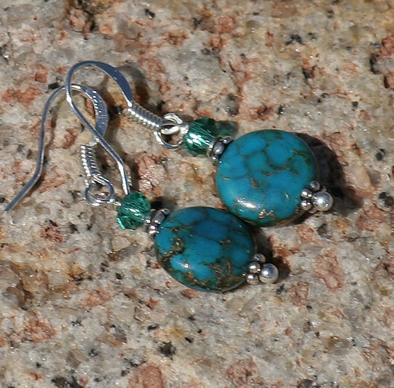 Turquoise Blue Earrings, Serpentine, Silver, Handmade, Stone