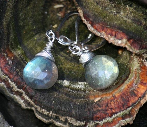 Labradorite Earrings, Wire Wrapped, Silver, Gray, Blue Stone