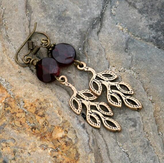Earthy Leaf Earrings, Red Garnet, Bronze, Handmade, Spring, Summer