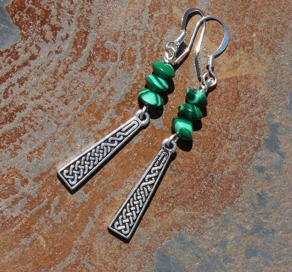 Green Earrings, Celtic Earrings, Silver Earrings, Green Malachite Earrings, Natural Stone Earrings, Handmade Earrings