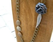 SALE - Antique Brass and Lace Rosette Necklace with Stone and Feather Detail
