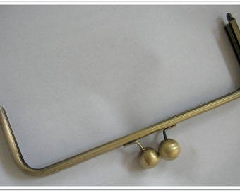 9 1/2 inch anti brass rectangle big bead metal purse frame, clutch frame, kiss lock frame, bag frame, bag hardware, bag making wholesale