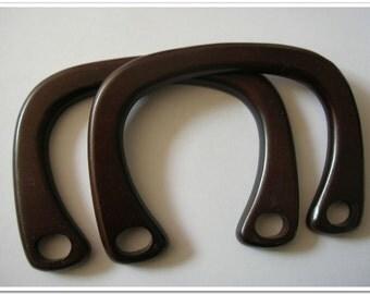 pair of  6 inch wide dark brown wooden purse handles purse making supplies