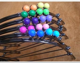 5pcs   7 1/2 inch (19cm)  metal half round purse frame with gradient color beads kiss lock gunmetal gun color