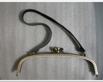 9.5 inch antique bronze new style double sewing purse frame handbag frame with 21 inch cow leather handle