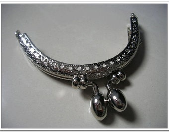 8.5 cm half round sewing coin purse frame bag frame silver oval beads