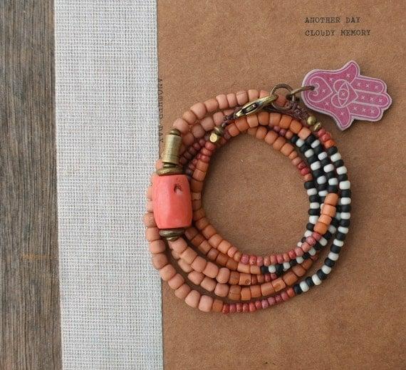 Wrap Bracelet Necklace - Salmon Pink
