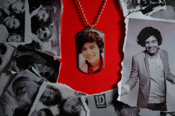 "One Direction Dog tag on 24"" silver plated ball chain necklace"