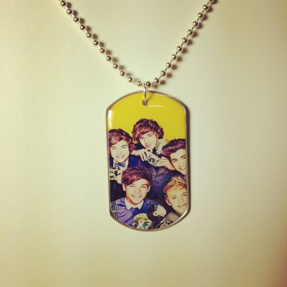 """One Direction Dog tag on 24"""" silver plated ball chain necklace"""