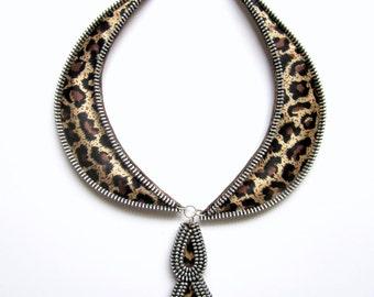 TAME LEOPARD Zipper Textile Necklace