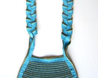 Zipper Jewelry Textile Long Handmade Statement Necklace