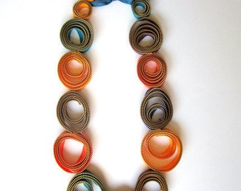 Textile Zipper Necklace Oversize Statement Colors Handmade Long Necklace - Rainbow Hoops