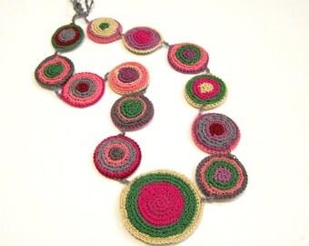 WHEELS of LIFE - Folklor Crochet Knitting Fiber Textile Handmade Necklace