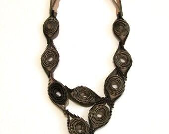 Ripe Almonds -  Zipper Textile Statement Handmade Beige Green Necklace