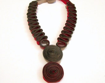 SINUOUS CONTOUR Zippers Textile Statement Handmade Red Necklace